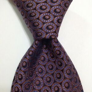 TED BAKER London Men's Silk Necktie USA Designer CIRCLES Blue/Purple/Orange EUC