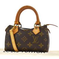 Auth LOUIS VUITTON Mini Speedy 2Way Hand Bag Monogram Leather M41534?18BQ653