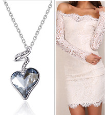 On Trend 18K White Gold Plated Blue Heart Necklace Made With Swarovski Crystal