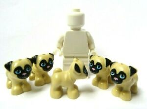 Lego 5 Tan Black Puppy Dog Pug  Minifigure Not Included  Animal Pet