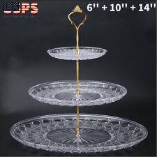 3-Tier Acrylic Round Cake Tray Nuts Fruits Desserts Display Holder For Party Use