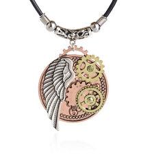 steampunk jewelry pendant necklace Wings card gear