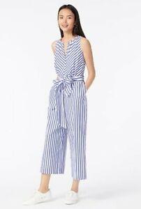 NWT J Crew V-Neck Jumpsuit in Striped Cotton Poplin Sz 6 Blue White Stripe $118