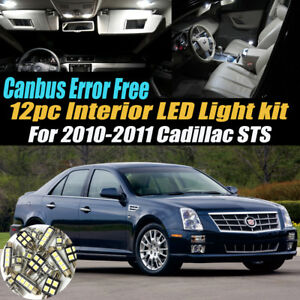 12Pc CANbus Error Free Interior LED White Light Kit for 2010-2011 Cadillac STS