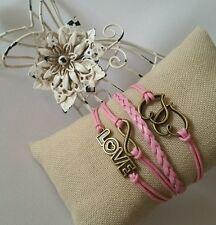 Fashion Leather Bracelet Cute Infinity Love Pink Charm Bronze US Seller