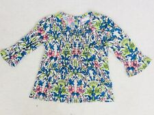 Girls Blue Multi Bright Fluted Sleeve Blouse Age 3 years from Next