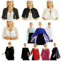 Women Chiffion Lace Cape Shrug Bolero Crop Cardigan Cover-Up Shawl Wraps Tops