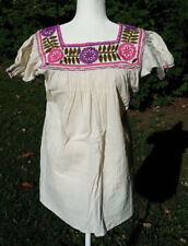 Maya Mexican Blouse Top Shirt Embroidered Flowers Chiapas Off-White Small 312