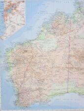 1958 LARGE MAP AUSTRALIA WEST ~ PERTH FREMANTLE NORTHAMPTON KALGOORLIE DARWIN
