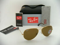 AUTHENTIC-RAY BAN AVIATOR-RB3025-GOLD-001/57-W/BROWN-POLARIZED-62MM(LARGE)