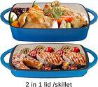 Bruntmor 11 Inch Enameled Cast Iron Casserol Dish Baking Pan Griddle Lid Blue