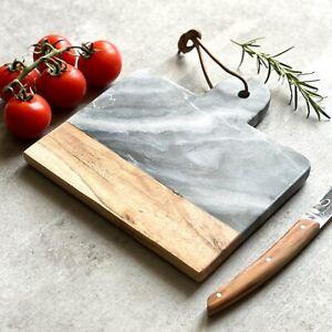 Grey Marble And Acacia Wood Cheese Board - 20cm x 20cm