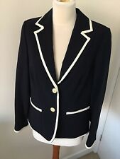 Jaeger Navy Wool Blazer jacket White Piping 12