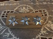 12 Vintage Pewter Christmas Stars Mini Candle Holders Made In Denmark