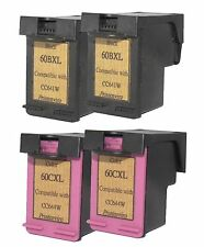 Printenviro 4x HP 60XL Black CC641W & Color CC644W  Reman Ink Cartridges D2560