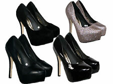 "LADIES 5.5"" HEEL COURT SHOE IN 4 COLOURS WITH A 2"" CONCEALED PLATFORM SIZES 3-8"