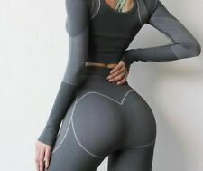 Female Yoga Set Seamless Long Sleeve Key Hole Workout Top+Running Butty Leggings