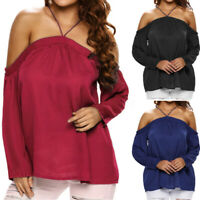 Women Off Shoulder Sexy Shirt Blouse Halter Neck Casual T-Shirt Top Size 8-24
