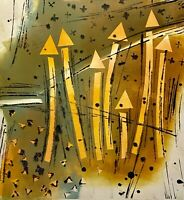 MILDA VIZBAR NEW YORK CITY 1933-2019 MODERNIST ABSTRACT MONO PRINT SERIGRAPH 1/1