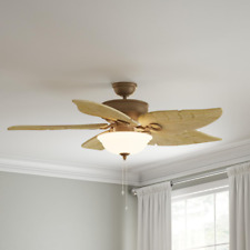 "Weathered Zinc 56"" Ceiling Fan Indoor/Outdoor W/ Sandstone Glass Bowl Light Kit"