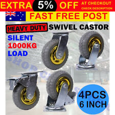 4x 6'' 150mm Heavy Duty Swivel Caster Wheels Castor 2 with Brakes 1000KG Load OZ