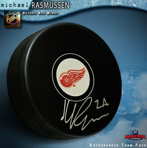 MICHAEL RASMUSSEN Signed Detroit Red Wings Puck