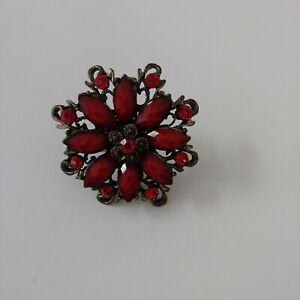 Red Poinsettia Adjustable Ring