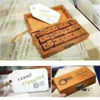 30pcs Retro Vintage Craft Wooden Box Alphabet Letter Number Rubber Stamp Set