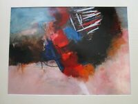LARGE VINTAGE CONTEMPORARY ABSTRACT EXPRESSIONISM PAINTING MYSTERY ARTIST SIGNED