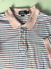 Polo Ralph Lauren Mens Polo Shirt 2XB Pink Blue White Striped Logo 100% Cotton