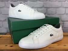 LACOSTE MENS UK 9 EU 43 WHITE GREY LEROND LEATHER TRAINERS J