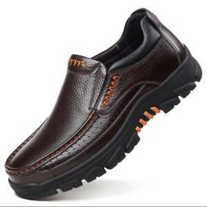 Men's Casual Leather Work Shoes Slip On Soft Loafers