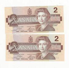 1986 AU-AU+ Canada 2 $ Bill in Sequence Prefix Crow/Bouey ARG4106448/9 BC-55a