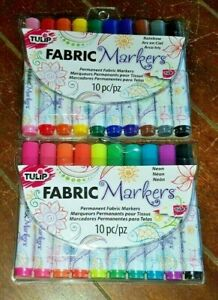 2 x Tulip 10pc Permanent Fabric Markers: RAINBOW & NEON *Brush Tip*
