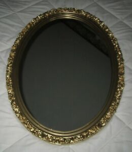 """Vintage Wood Framed Floral Gold Wall Plate Glass Oval Mirror 27"""" High"""