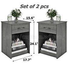 Nightstand Set of 2 Gray End Table Bedroom Bedside Furniture Shelf Drawer