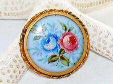 Antique Hand Painted Limoges France Porcelain Brooch Gold Gild Gilt Bezel Roses