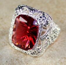 SILVER Elegant Red Topaz Big Rectangular Ring WR50107