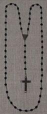Rosenkranz #116 schwarze Kunstharz-Perlen und in Metall gefasstes Holz-Kreuz