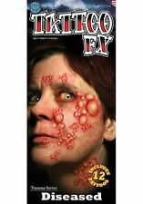 12 Tattoo FX Face Face Warts Blistered Theater Quality Effets Makeup