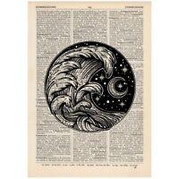 Skull Cactus Moon Dictionary Art Print Alternative Tattoo Travel Desert