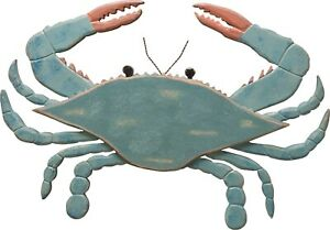 Primitives by Kathy Rustic Blue Crab Shaped Wall Decor Beach House Wood Sign