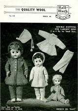 """VINTAGE 1950's KNITTING PATTERN COPY - DOLLS CLOTHES - 10-21"""" ASSORTED SIZES"""