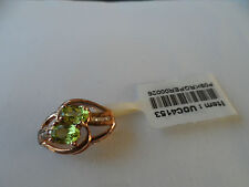 ( #22 ) L@@K GENUINE 9K ROSE GOLD LOVELY PERIDOT & DIAMOND PENDANT