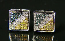 Mens/Ladies Multi-Color Bezel Pave Diamond Earring 9 Mm