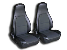 MAZDA MIATA 1990-2000 BLACK/CHARCOAL IGGEE S.LEATHER CUSTOM FIT FRONT SEAT COVER