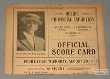 Original 1912 Quebec Horse Racing Official Score Card
