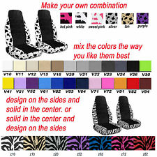 front set car seat covers create your own design with cow or zebra pattern
