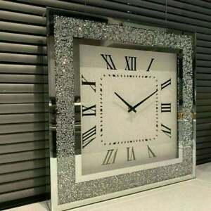 MIRROR CRUSHED DIAMOND SILVER CRUSHED CRYSTAL FILLED SPARKLY WALL CLOCK HOME DEC