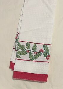 Williams Sonoma Kitchen Towel Waffle Weave Holly Berries Damask Embroidered NWOT